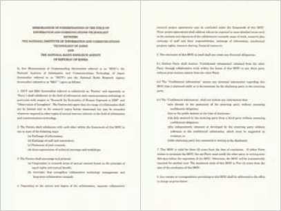 Memorandum of Understanding in the Field of Information and Communications Technology between the National Institute of Information and Communications Technology of Japan and the National Radio Research Agency of Republic of Korea